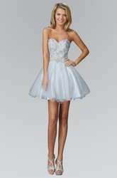 A-Line Short Sweetheart Sleeveless Tulle Satin Dress With Beading