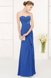 Side Drape Sweetheart Chiffon Long Prom Dress With Crystal And Removable Top