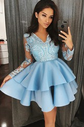 A-line Short Mini Long Sleeve V-neck Beading Lace Ruffles Tiers Satin Lace Homecoming Dress