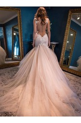 Mermaid Trumpet V-neck Lace Tulle Open Back Wedding Dress