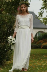 Bateau Long Sleeve Lace Chiffon Pleated Wedding Dress
