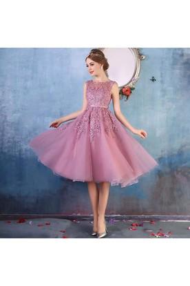 e929ae515d23 Scoop Petite Short Mini Tulle Adorable A-Line Sleeveless Zipper Back  Appliques Bridesmaid Dress ...