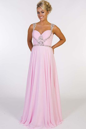 d472714cf73c43 A-Line Ruched Strapped Sleeveless Floor-Length Chiffon Prom Dress With  Beading ...