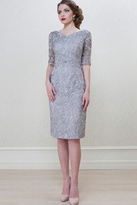 87049b1f0f12d5 Pencil Knee-Length Half Sleeve Splitted V-Neck Lace Mother Of The Bride  Dress ...