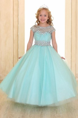 fd671382f Illusion Floor-Length Pleated Tiered Tulle&Organza Flower Girl Dress With  Ribbon