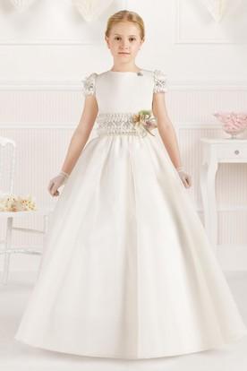 38d43ffd2 A-Line Jewel-Neck Floor-Length Short-Sleeve Floral Flower Girl Dress