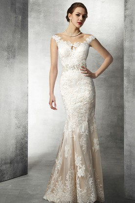 fef889d7ad1442 Mermaid Lace Wedding Gown With Beaded Waist ...