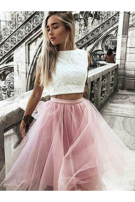 8947934c1669c A-line Two Piece Knee-length Sleeveless High Neck Pleats Ruching Lace Tulle  Homecoming