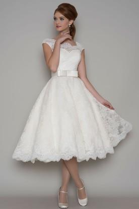 c33eb40fbc4150 Tea-Length A-Line Cap Sleeve Square Neck Ribboned Lace Wedding Dress ...