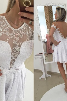 e8e17a68c ... Modern Illusion White Short Cocktail Dress 2018 Lace Bowknot