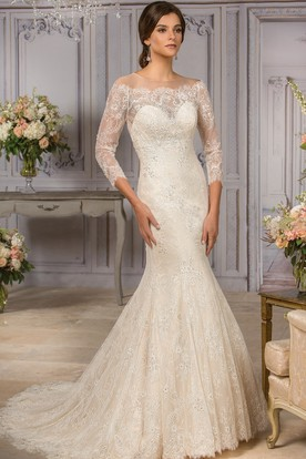 f77dc35d90306 3-4 Sleeved Mermaid Wedding Gown With Appliques And Illusion Back ...