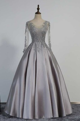 73c2c44518736 Illusion Long Sleeve V Neck Pleated Satin Ball Gown With Lace Detailing ...