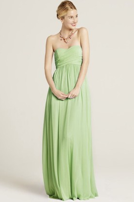 5223e25ba9cf Floor-Length Ruched Strapless Chiffon Bridesmaid Dress With Bow And Brush  Train ...