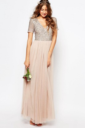 7111298bb23a Ankle-Length V-Neck Sequined Short Sleeve Tulle Bridesmaid Dress With Pleats  ...