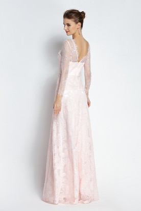 411be7ca88927 ... Floor-length Long Sleeve A-Line Bateau Scalloped Lace Prom Dress with  Beading and