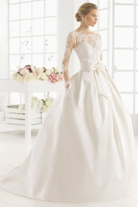 b29e0e73ad39 Maxi Scoop Long-Sleeve Bowed Satin Wedding Dress With Lace And Illusion ...