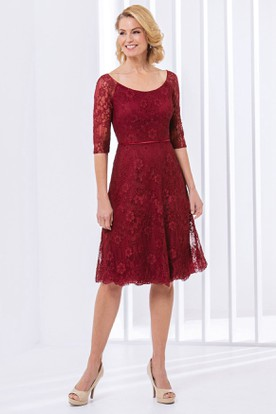 ed68e564628b7b Half-Sleeved A-Line Knee-Length Lace Mother Of The Bride Dress With ...