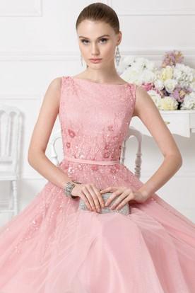 c1322ca513ece8 A-Line Knee-Length Beaded Bateau Neck Sleeveless Tulle Prom Dress ...