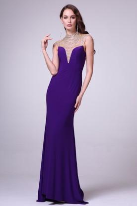 c33d01715c8 Sheath High Neck Sleeveless Jersey Backless Dress With Beading ...