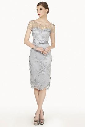 d00f6c39bd5e Beading Net Short Sleeve Sheath Knee Length Lace Prom Dress With Satin Belt  ...