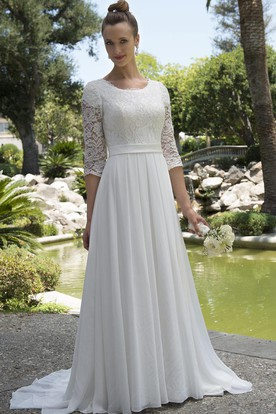 bc5563840887d Informal Modest Beach Scoop Neck Lace Chiffon Wedding Dress With 3-4 Sleeves  ...