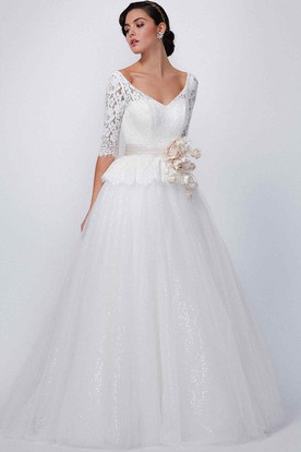 b5fafa47dd43 A-Line V-Neck Half-Sleeve Lace Wedding Dress With Flower And Sequins ...