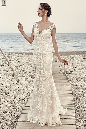 726b9f093783 Sheath Cap-Sleeve V-Neck Floor-Length Lace Wedding Dress With Appliques And  ...