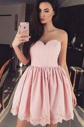 72a0d7d03a01f A-line Ball Gown Short Mini Sleeveless Sweetheart Pleats Ruching Lace  Homecoming Dress ...