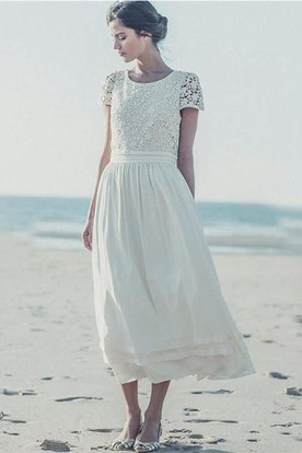 d3bd293d1c51 Newest White Lace A-line 2018 Wedding Dress Cap Sleeve Tea Length Jewel ...