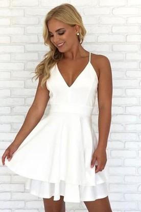 e7ebf6907c259 A-line Short Mini Sleeveless Spaghetti V-neck Lace Tiers Chiffon Homecoming  Dress ...