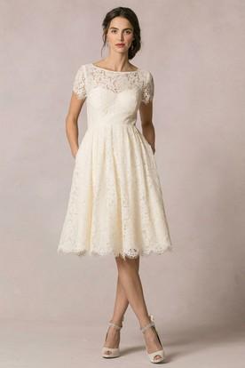 7e42cbe71bef A-Line Short-Sleeve Scoop-Neck Short Lace Wedding Dress With Keyhole ...