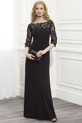 a81837b1f4af Sheath Floor-Length Appliqued Bateau-Neck Half-Sleeve Jersey Formal Dress  With Beading ...