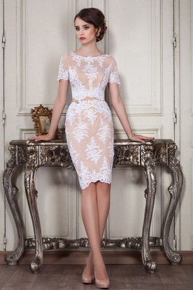 785bc3d8b Sheath Knee-Length Jewel Short Sleeve Lace Appliques Zipper Dress