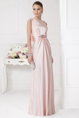 c055b65c8ca0f5 Sheath Jeweled Long Jewel-Neck Short-Sleeve Satin Prom Dress With Beading  ...
