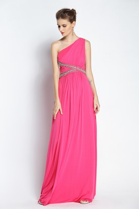 9e73c841687 Floor-length Sleeveless A-Line One-shoulder Chiffon Prom Dress with Beading  and ...