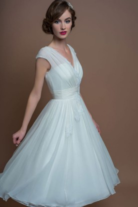 fd32e6dcc80cd A-Line V-Neck Tea-Length Cap-Sleeve Appliqued Tulle Wedding Dress ...