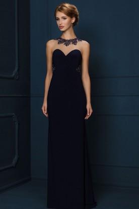 2965915b957 Sheath High-Neck Sleeveless Floor-Length Crystal Jersey Evening Dress ...