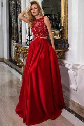 344a0e33136 Sleeveless Jewel Neck Appliqued Satin Prom Dress With Illusion Back ...