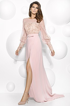 75f0879f1 Maxi Puff-Sleeve Scoop-Neck Appliqued Jersey Mother Of The Bride Dress With  Split