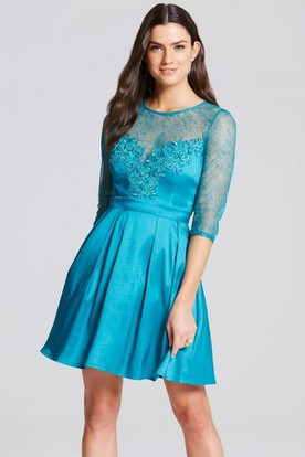 fc2598ac4 Short Illusion Sleeve Appliqued Scoop Neck Satin Bridesmaid Dress With  Keyhole ...
