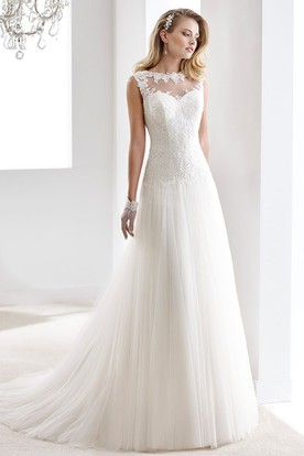 f18b6a5b169 Cap Sleeve Draping Chiffon Gown With Lace Bodice And Illusive Neckline