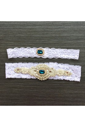 df05f2d1d ... Western Style Nail Jewelry Green Gem Lace Stretch Bridal Garter Within  16-23inch
