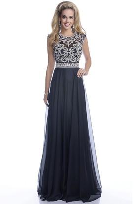 231b6344488 A-Line Sleeveless Keyhole Back Chiffon Prom Dress Featuring Crystal Bodice  ...