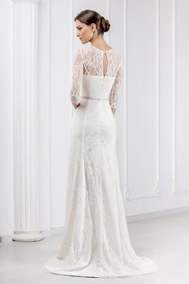 20342ae5a456c ... Sheath Ribboned Jewel Neck 3-4 Sleeve Lace Wedding Dress With Brush  Train