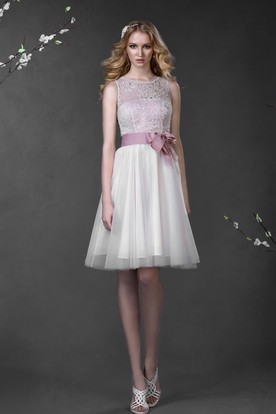 c97ccb71 A-Line Mini Scoop Sleeveless Low-V-Back Lace Tulle Dress With Bow ...