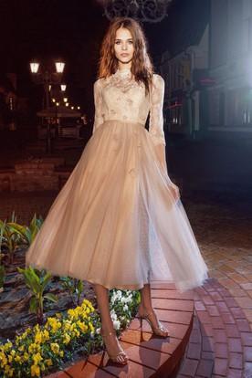 e0f1b80962040e A-Line Tea-Length High Neck Half Sleeve Tulle Illusion Dress With Appliques  And ...