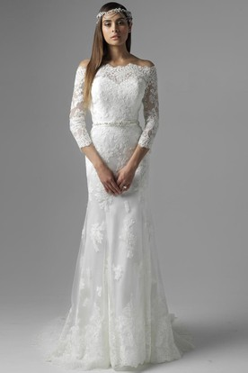 df157fa3443f60 Floor-Length Jeweled Off-The-Shoulder 3-4 Sleeve Lace Wedding Dress ...