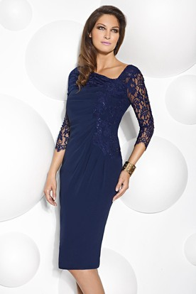 a8e79361a4b2e6 Knee-Length Lace Scoop Neck 3-4 Sleeve Jersey Mother Of The Bride Dress
