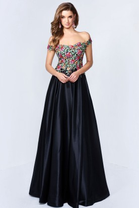 9b863785 A-Line Off-The-Shoulder Satin Keyhole Dress With Beading And Embroidery ...