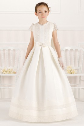 914fbd9fd A-Line Scoop-Neck Floor-Length Short-Sleeve Lace&Satin Flower Girl Dress